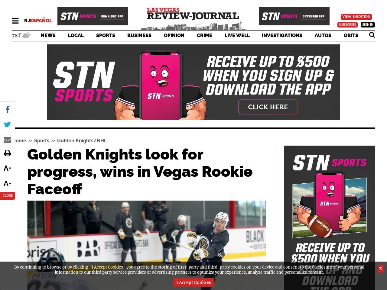 Golden Knights look for progress, wins in Vegas Rookie Faceoff