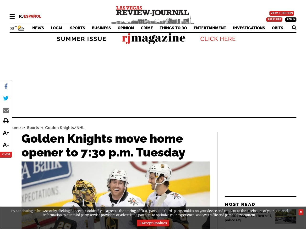 Golden Knights move home opener to 7:30 p.m. Tuesday