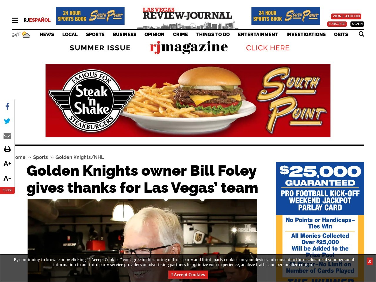 Golden Knights owner Bill Foley gives thanks for Las Vegas' team