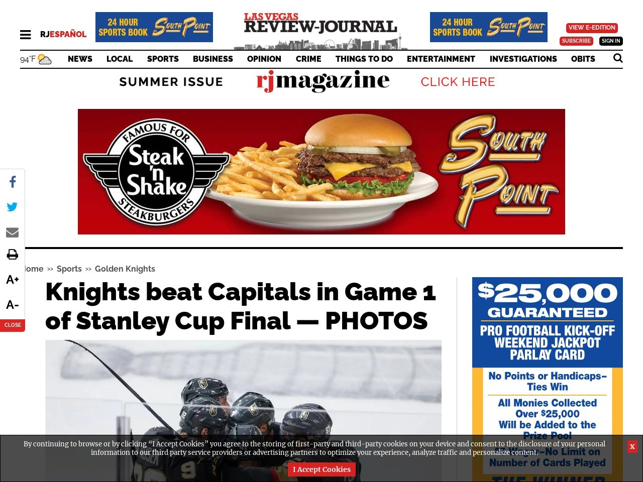Knights beat Capitals in Game 1 of the Stanley Cup Final — PHOTOS