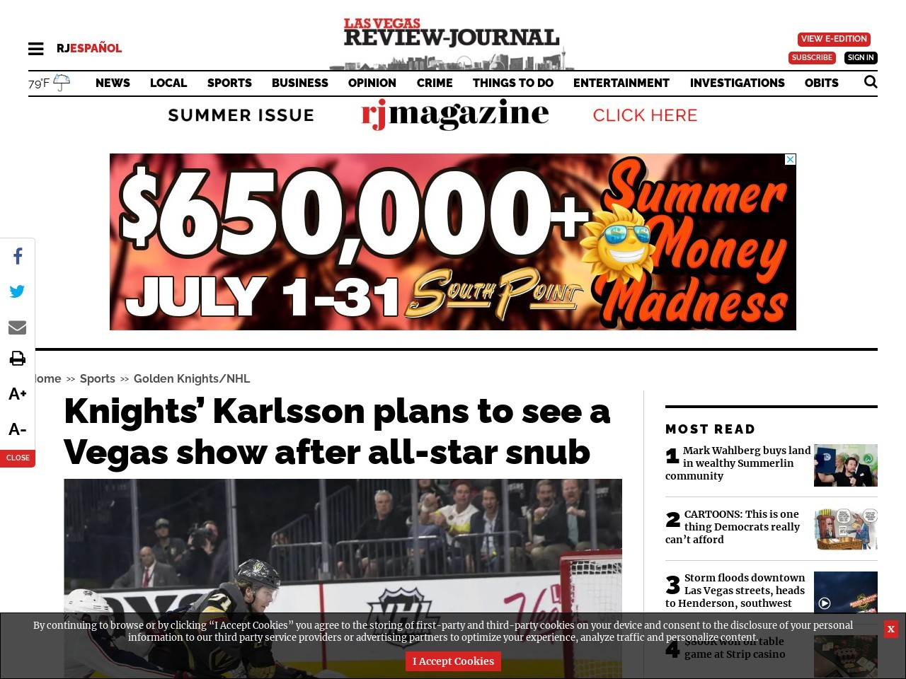 Knights' Karlsson plans to see a Vegas show after all-star snub
