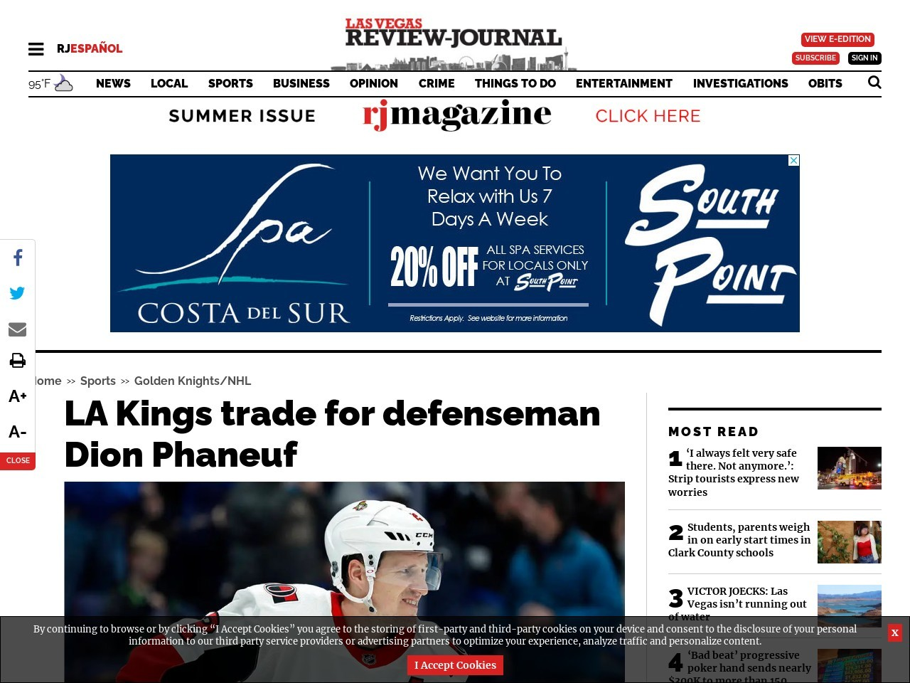 LA Kings trade for defenseman Dion Phaneuf
