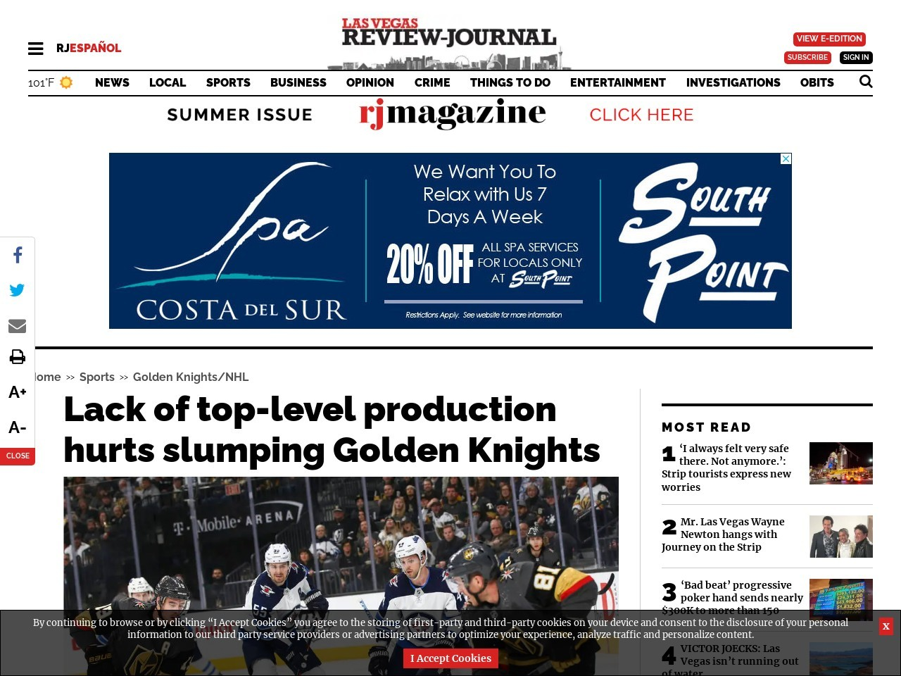 Lack of top-level production hurts slumping Golden Knights