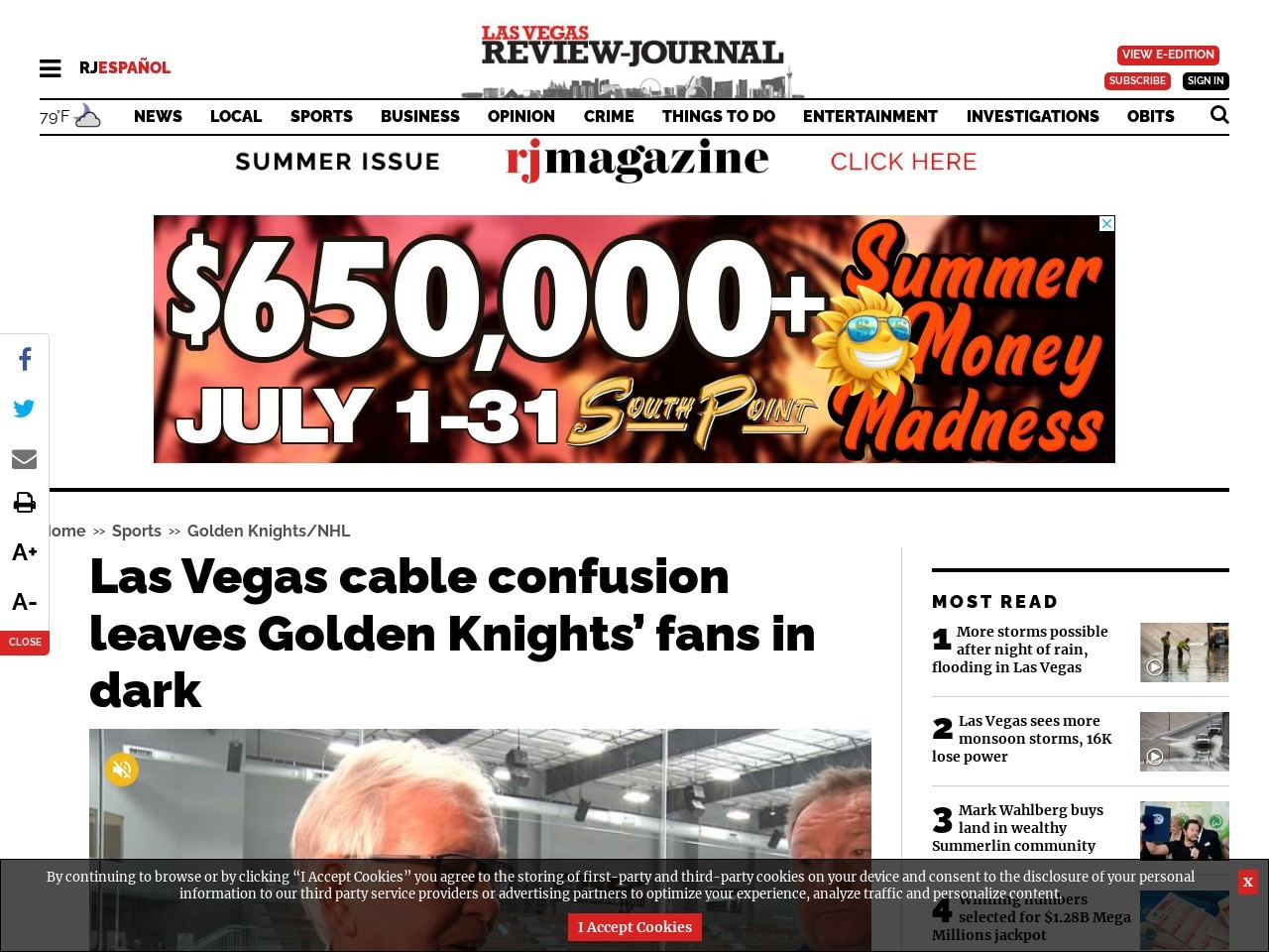 Las Vegas cable confusion leaves Golden Knights' fans in dark