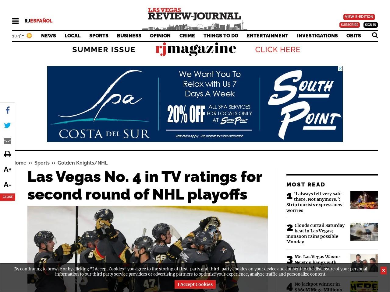 Las Vegas No. 4 in TV ratings for second round of NHL playoffs