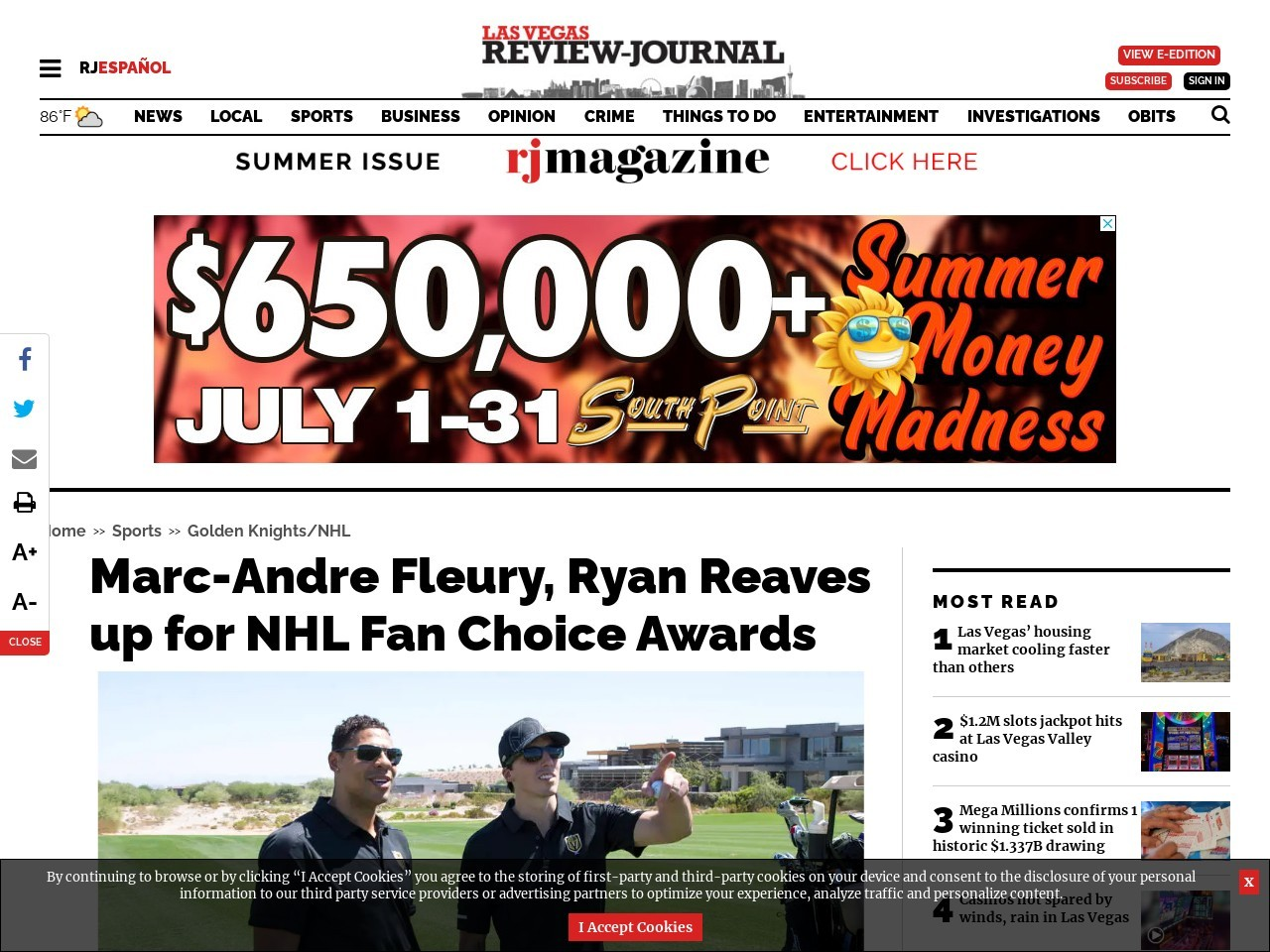 Marc-Andre Fleury, Ryan Reaves up for NHL Fan Choice Awards
