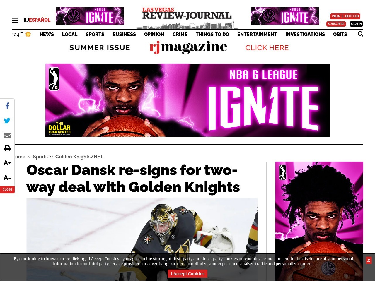 Oscar Dansk re-signs for two-way deal with Golden Knights