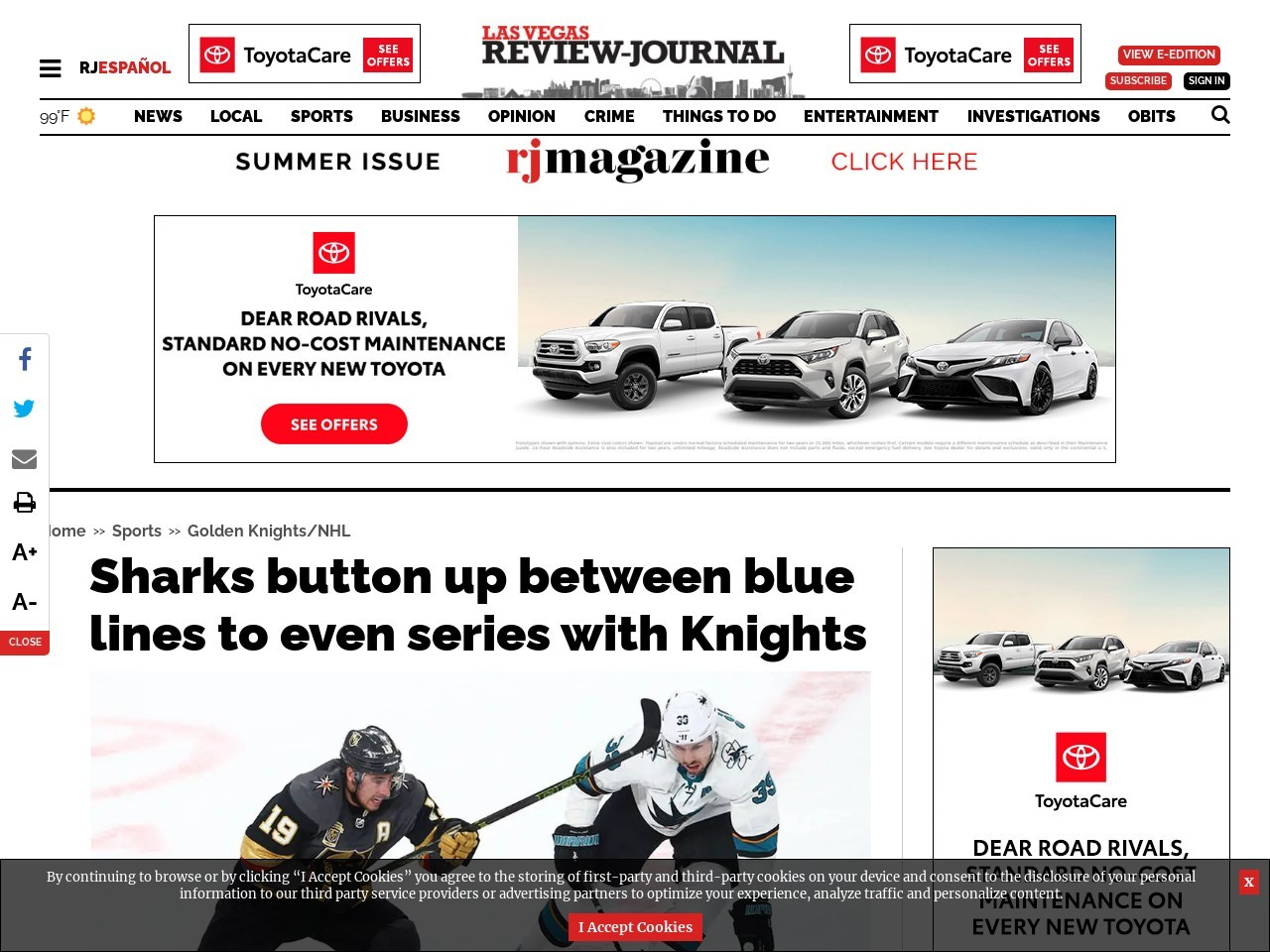 Sharks button up between blue lines to even series with Knights