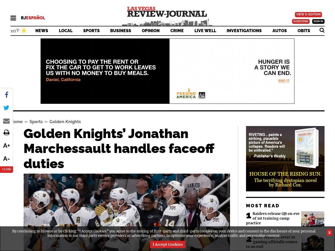 Golden Knights' Jonathan Marchessault handles faceoff duties
