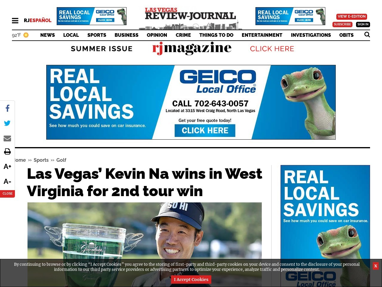 Las Vegas' Kevin Na wins in West Virginia for 2nd tour win