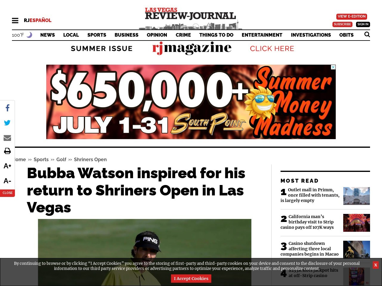 Bubba Watson inspired for his return to Shriners Open in Las Vegas