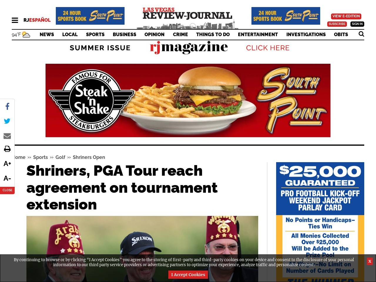 Shriners, PGA Tour reach agreement on tournament extension