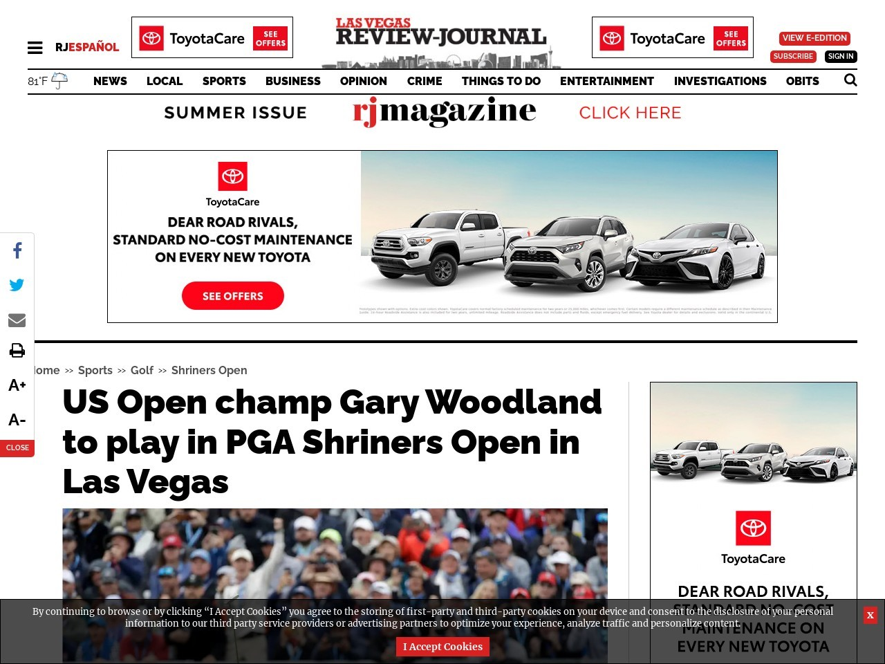 US Open champ Gary Woodland to play in PGA Shriners Open in Las Vegas