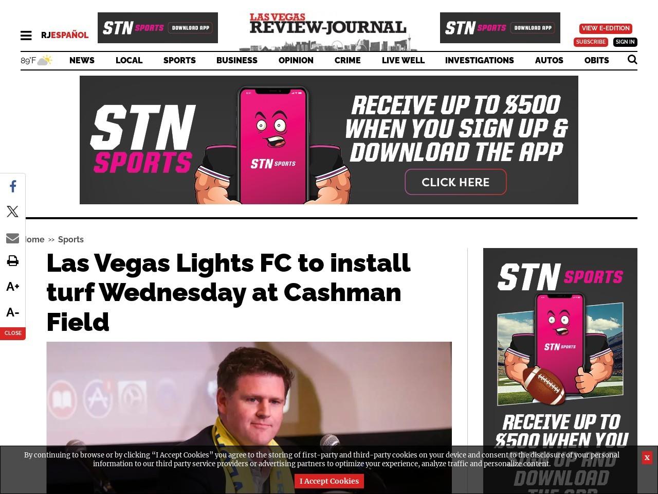 Las Vegas Lights FC to install turf Wednesday at Cashman Field