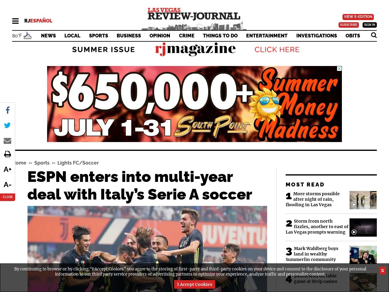 ESPN enters into multi-year deal with Italy's Serie A soccer