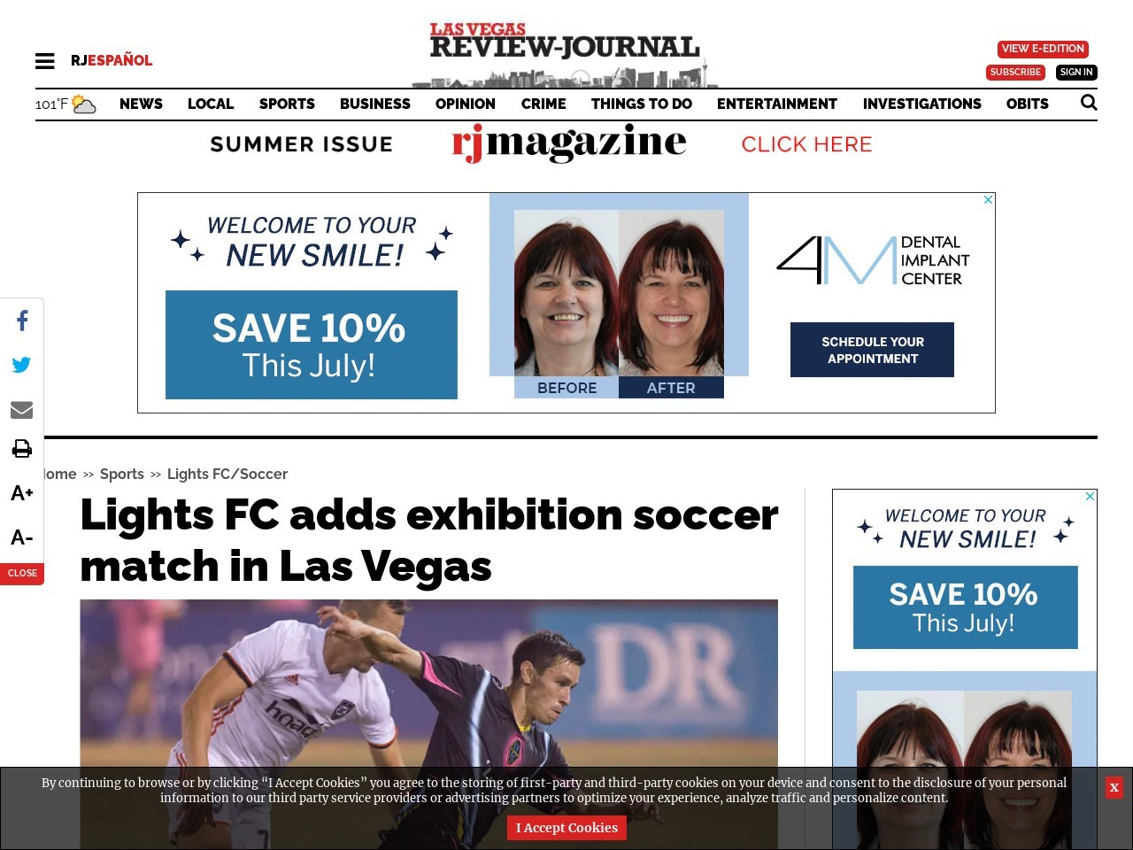 Lights FC adds exhibition soccer match in Las Vegas