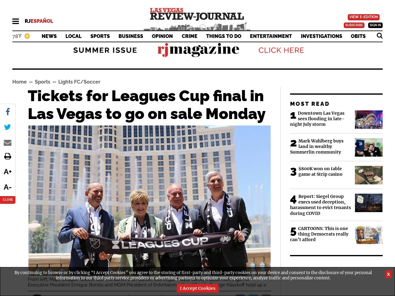 Tickets for Leagues Cup final in Las Vegas to go on sale Monday