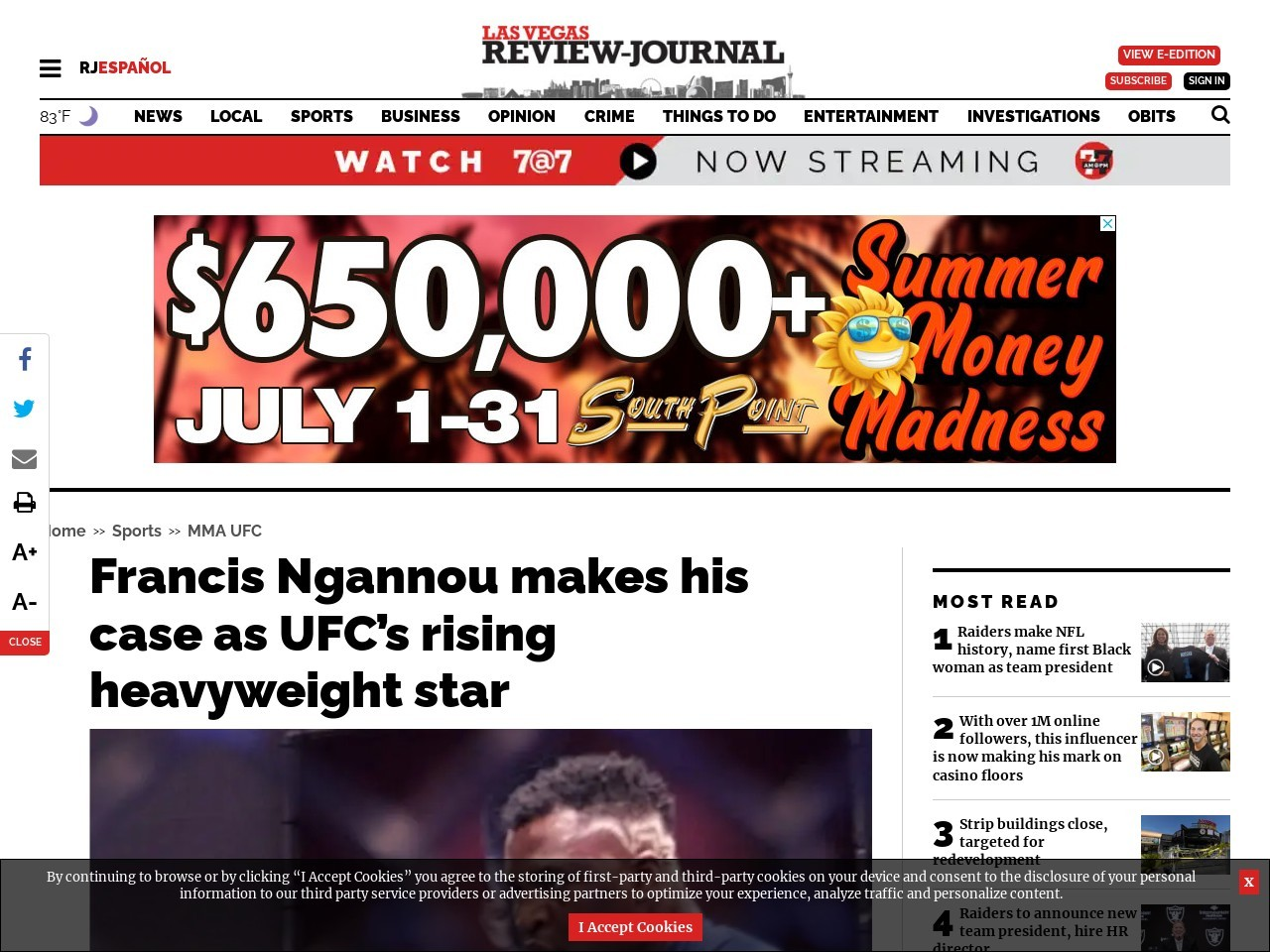 Francis Ngannou makes his case as UFC's rising heavyweight star