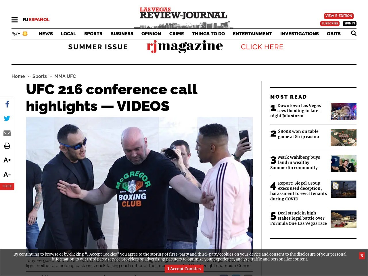UFC 216 conference call highlights — VIDEOS