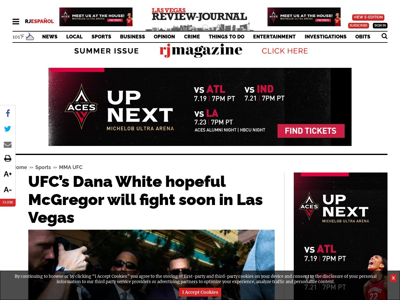 UFC's Dana White hopeful McGregor will fight soon in Las Vegas
