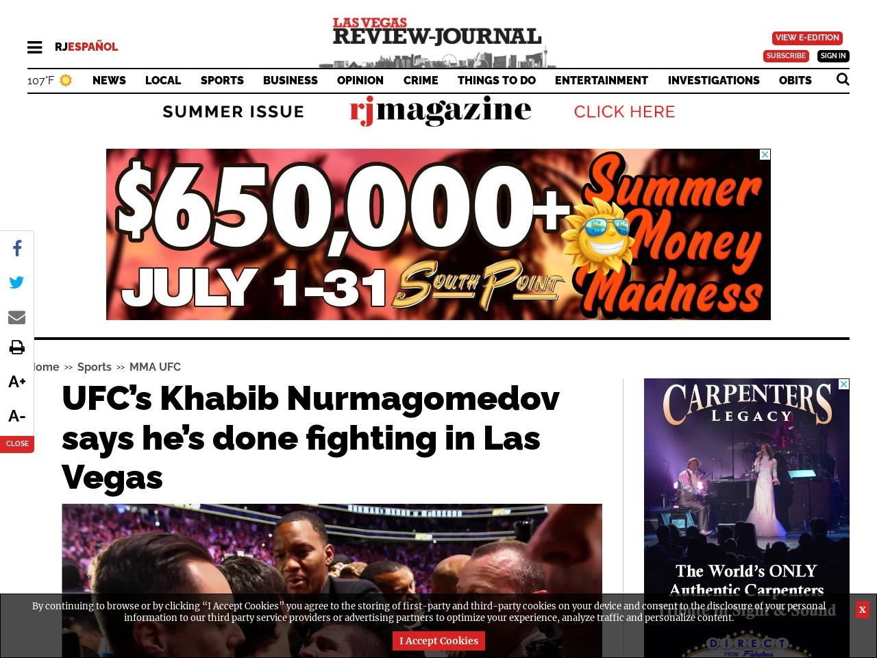 UFC's Khabib Nurmagomedov says he's done fighting in Las Vegas