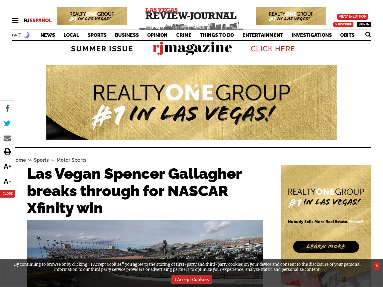 Las Vegan Spencer Gallagher breaks through for NASCAR Xfinity win
