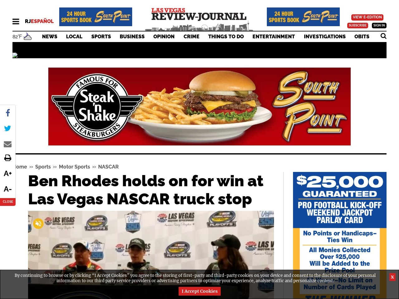 Ben Rhodes holds on for win at Las Vegas NASCAR truck stop
