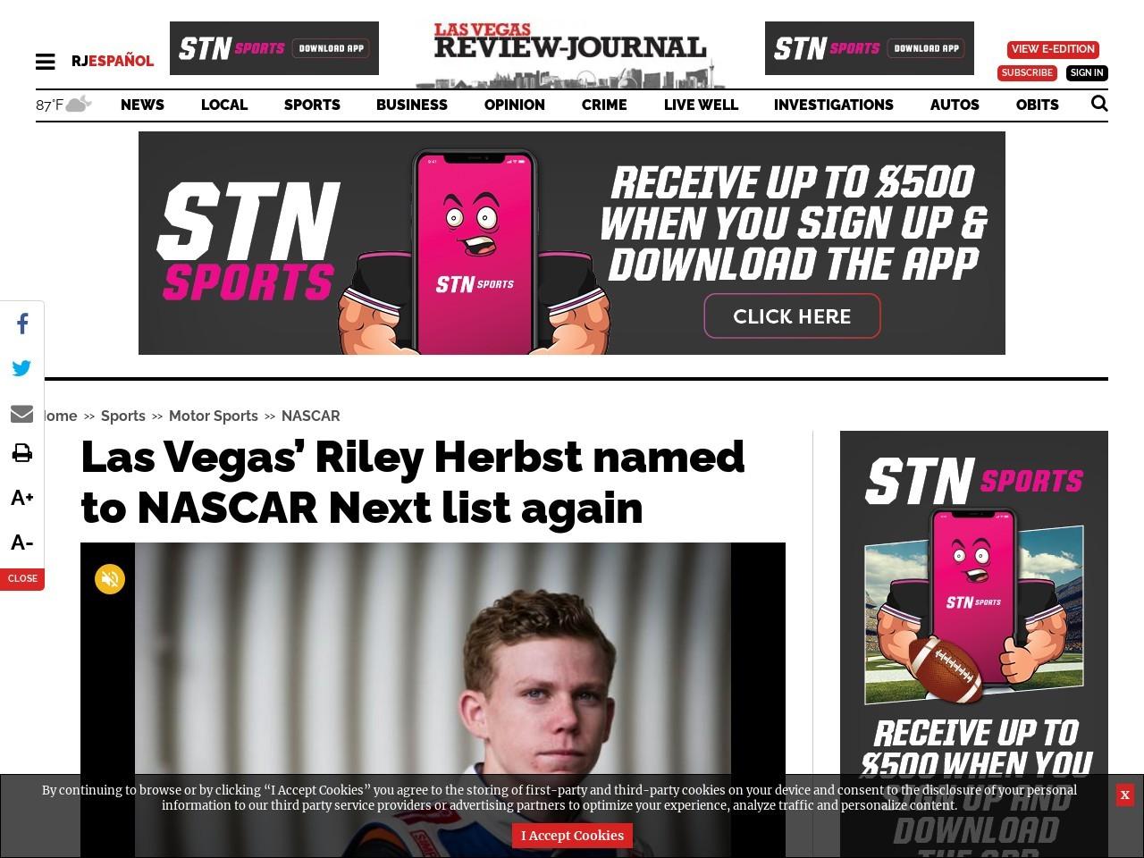 Las Vegas' Riley Herbst named to NASCAR Next list again