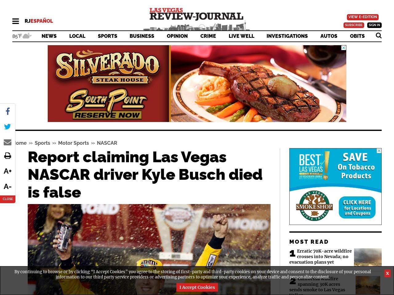 Report claiming Las Vegas NASCAR driver Kyle Busch died is false