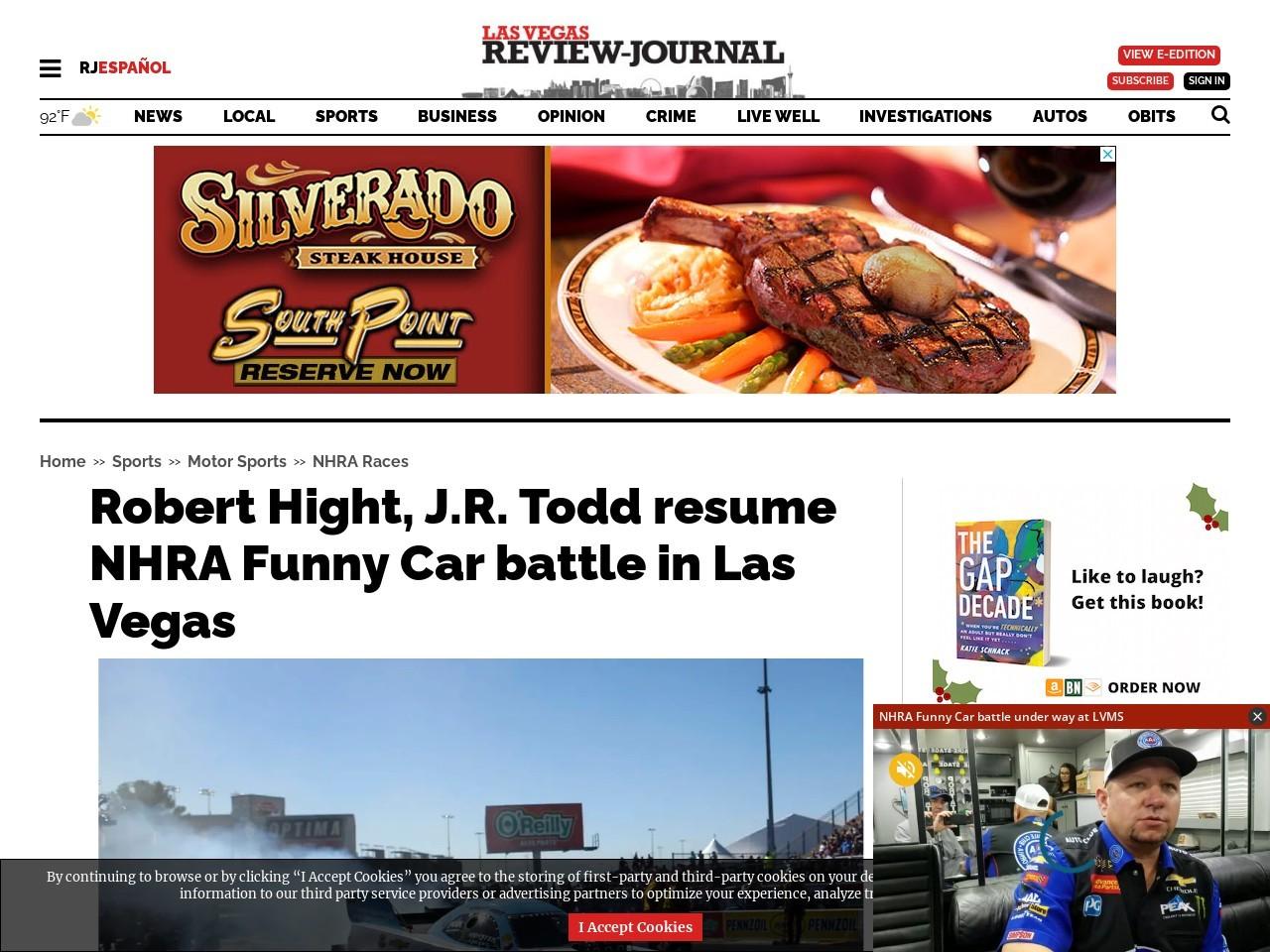 Robert Hight, J.R. Todd resume NHRA Funny Car battle in Las Vegas