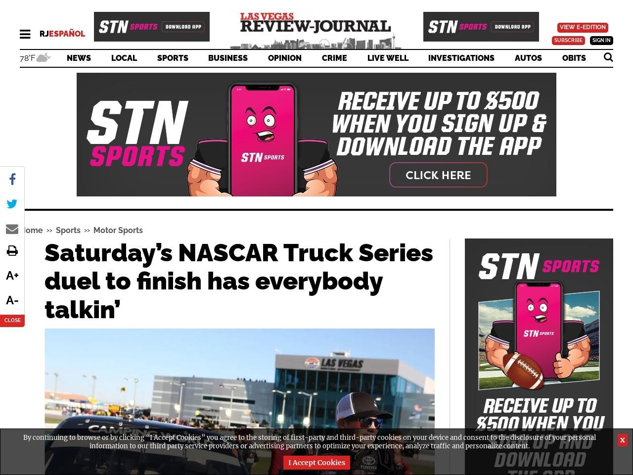 Saturday's NASCAR Truck Series duel to finish has everybody talkin'