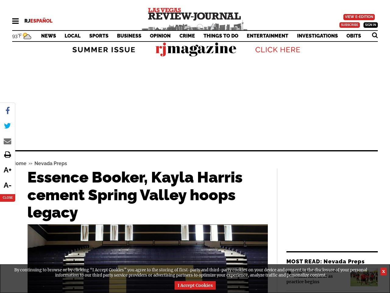 Essence Booker, Kayla Harris cement Spring Valley hoops legacy