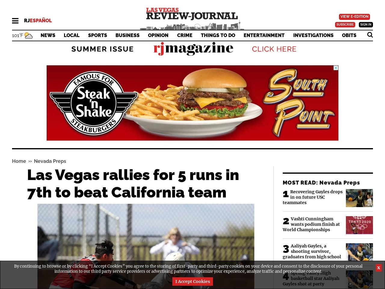 Las Vegas rallies for 5 runs in 7th to beat California team