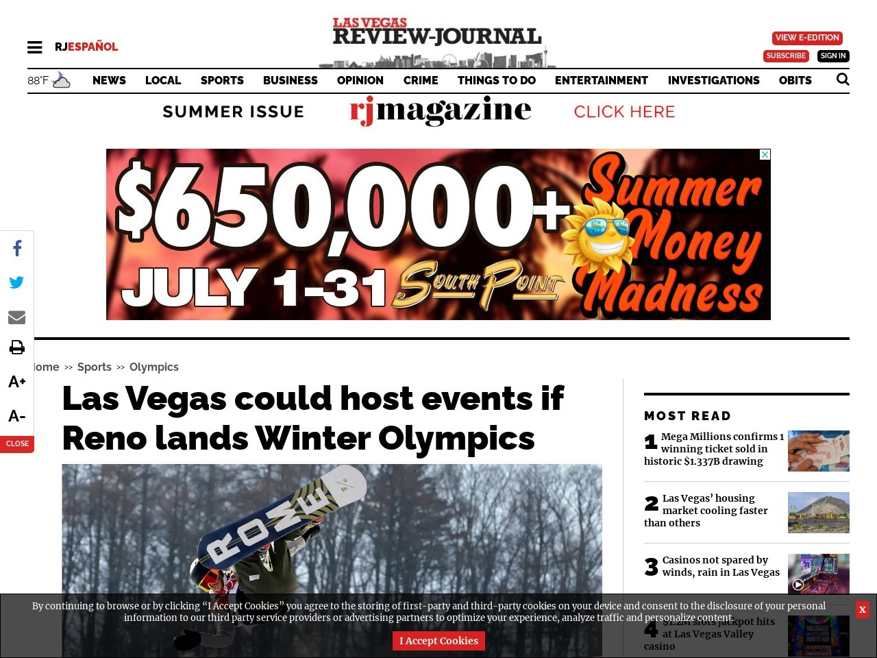 Las Vegas could host events if Reno lands Winter Olympics