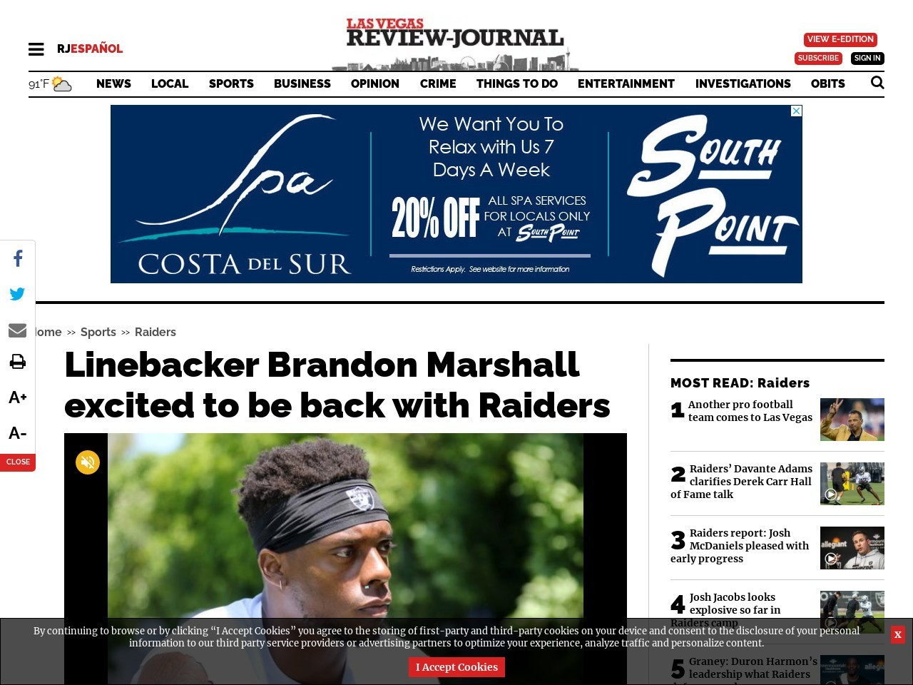 Linebacker Brandon Marshall excited to be back with Raiders