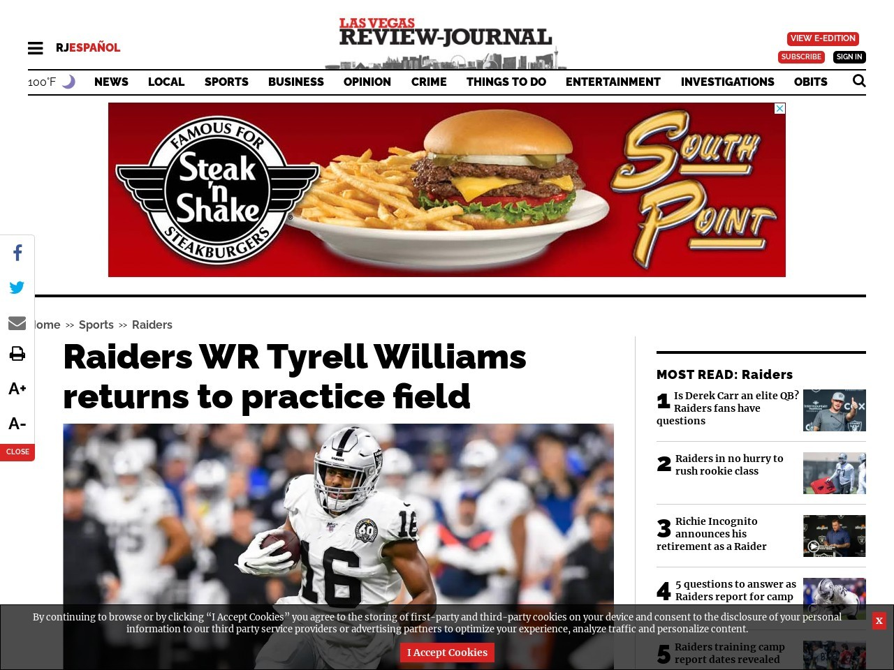 Raiders WR Tyrell Williams returns to practice field