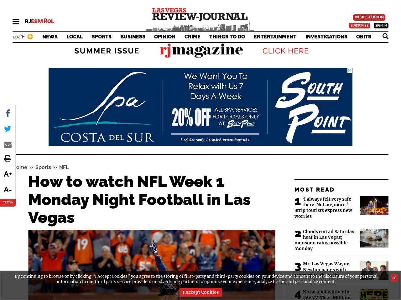 How to watch NFL Week 1 Monday Night Football in Las Vegas