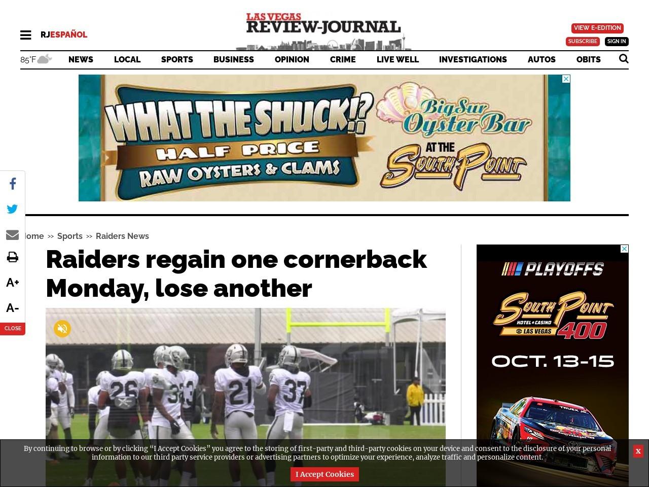 Raiders regain one cornerback Monday, lose another