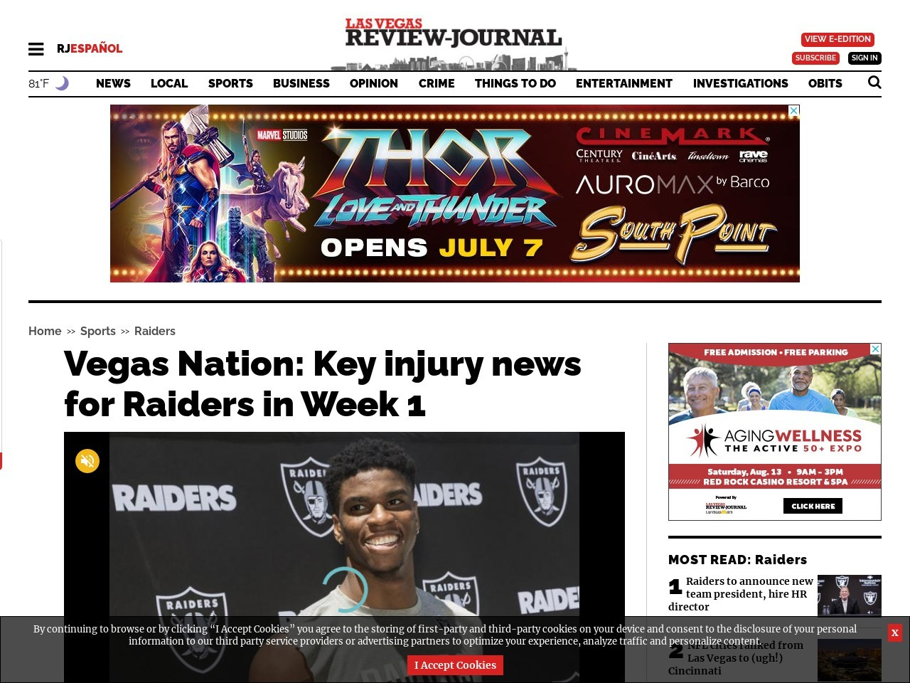 Vegas Nation: Key injury news for Raiders in Week 1