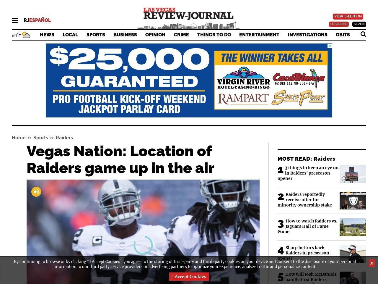 Vegas Nation: Location of Raiders game up in the air