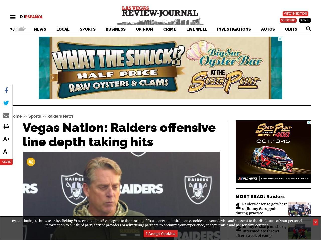 Vegas Nation: Raiders offensive line depth taking hits