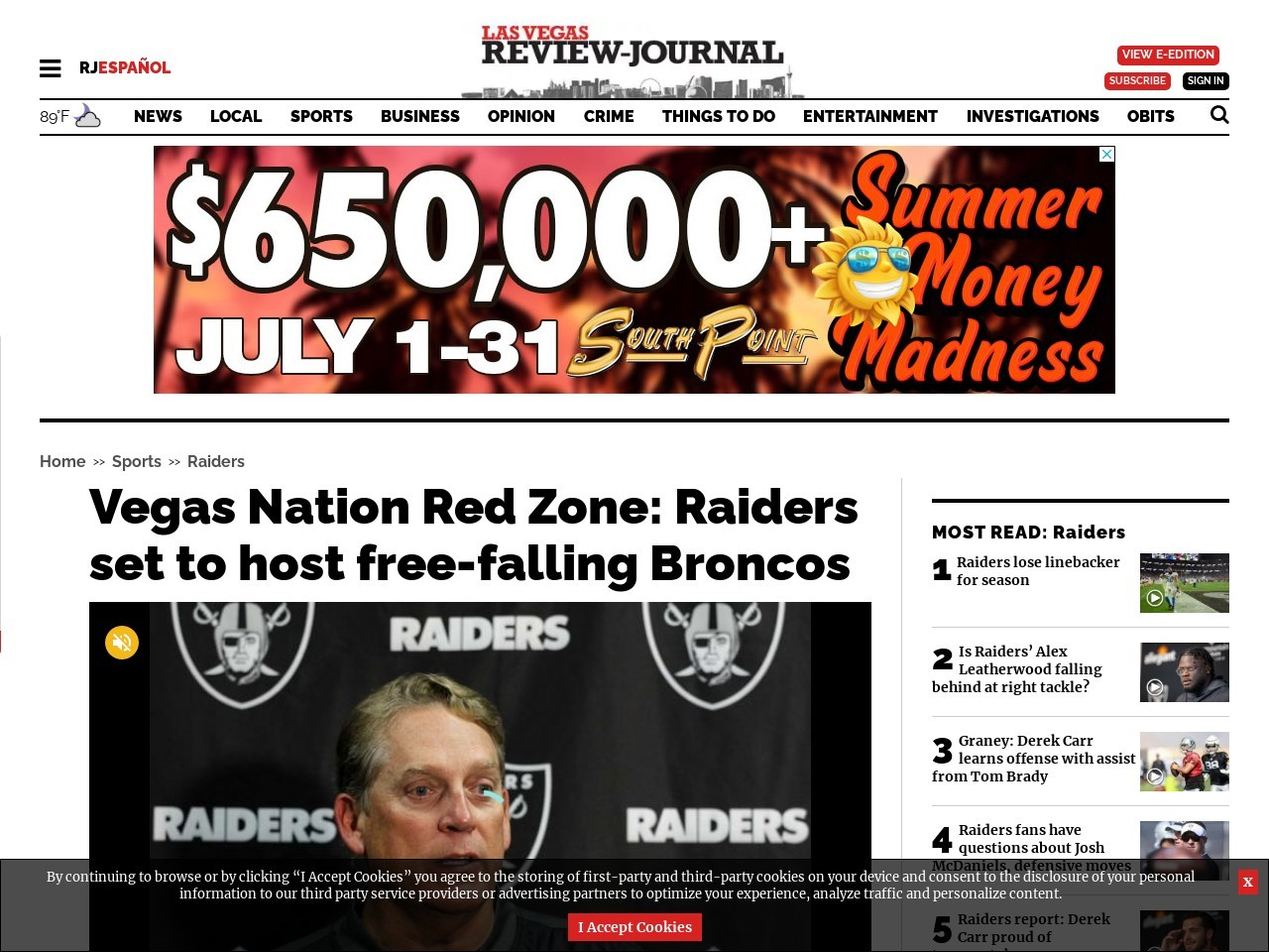 Vegas Nation Red Zone: Raiders set to host free-falling Broncos