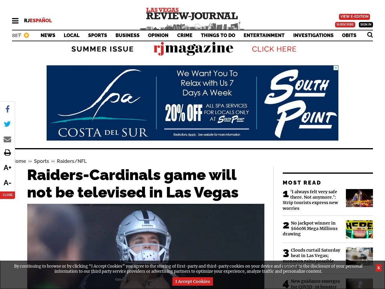 Raiders-Cardinals game will not be televised in Las Vegas