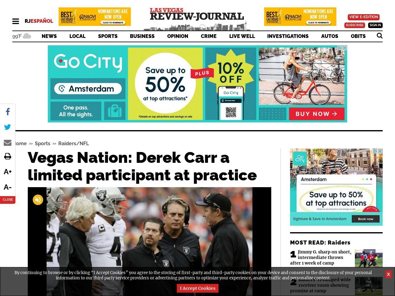 Vegas Nation: Derek Carr a limited participant at practice