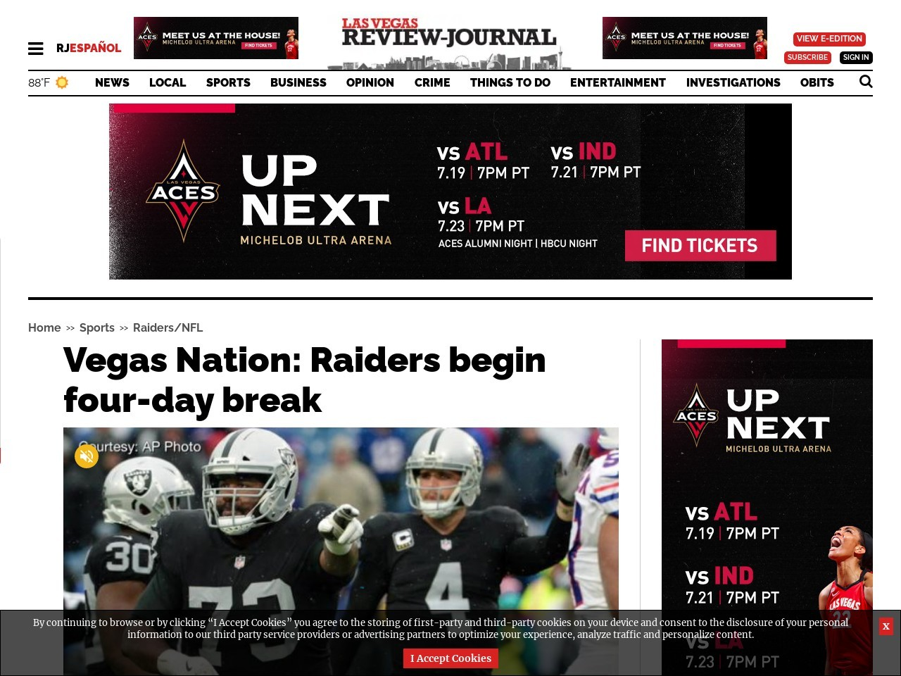 Vegas Nation: Raiders begin four-day break