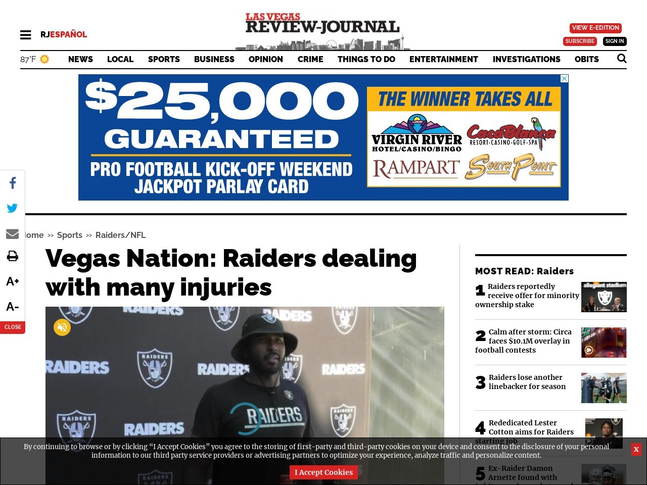 Vegas Nation: Raiders dealing with many injuries