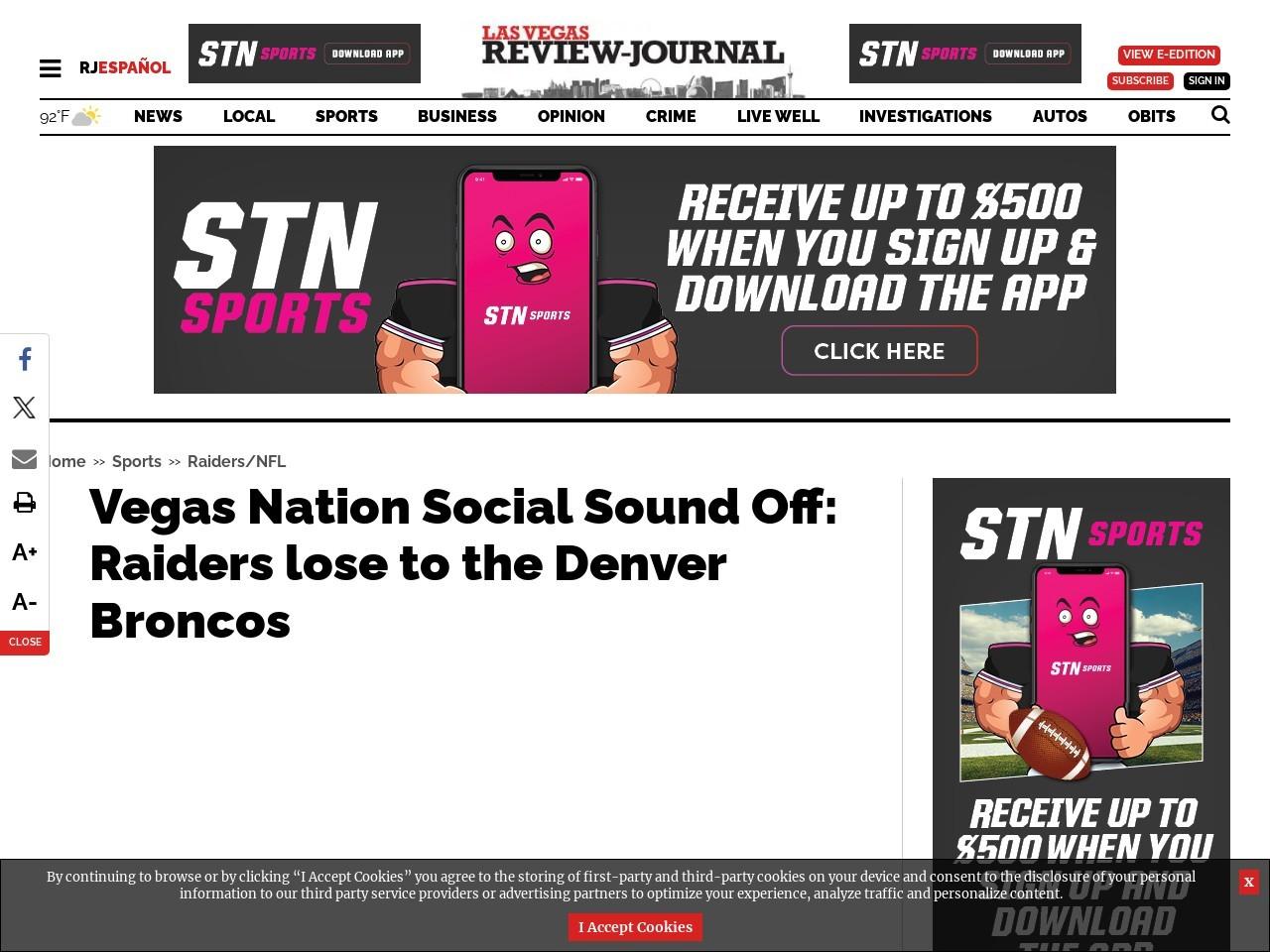 Vegas Nation Social Sound Off: Raiders lose to the Denver Broncos