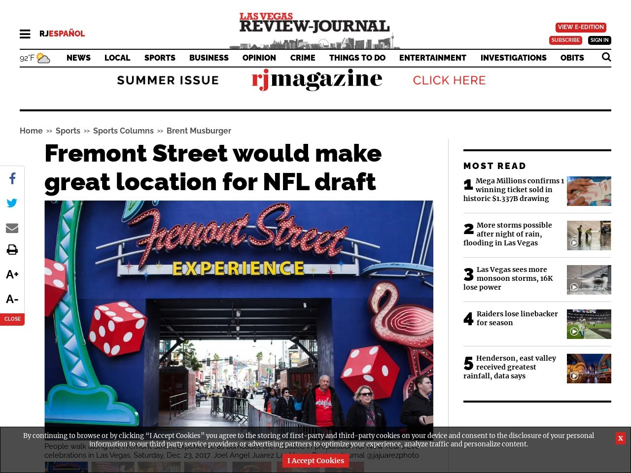 Fremont Street would make great location for NFL draft