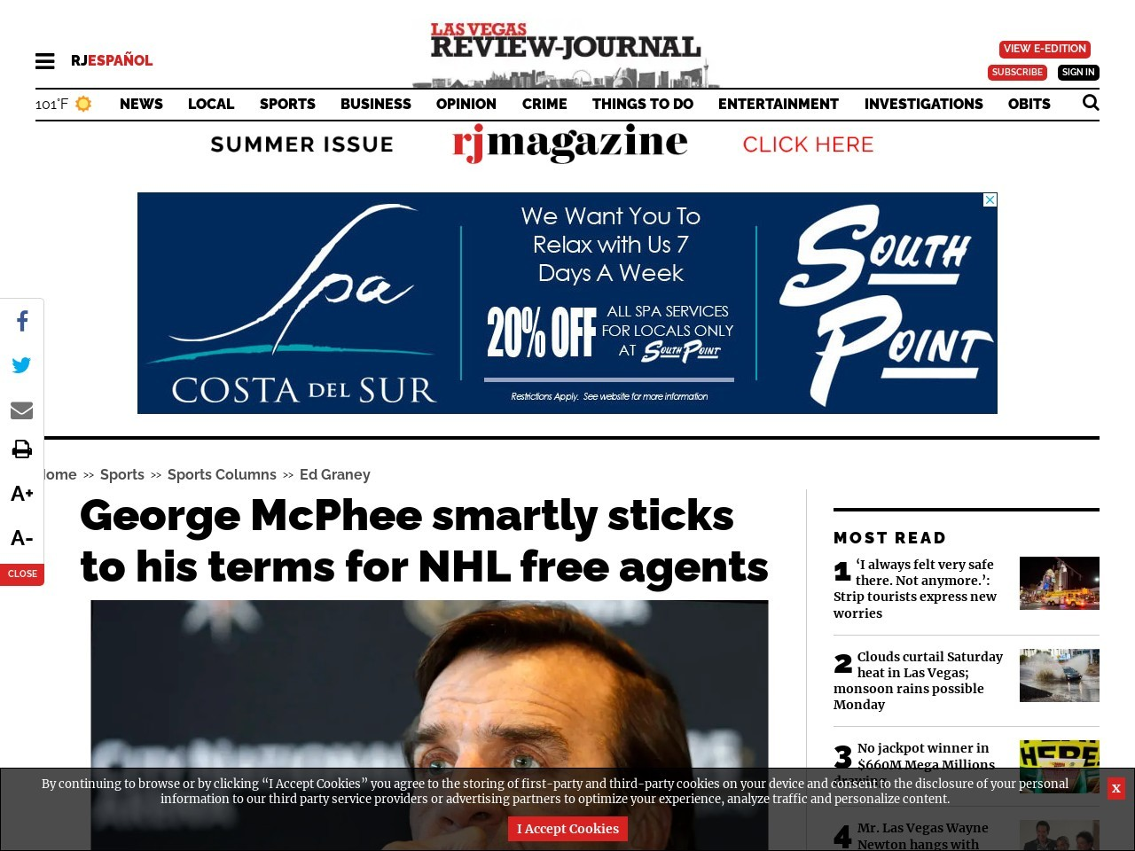 George McPhee smartly sticks to his terms for NHL free agents