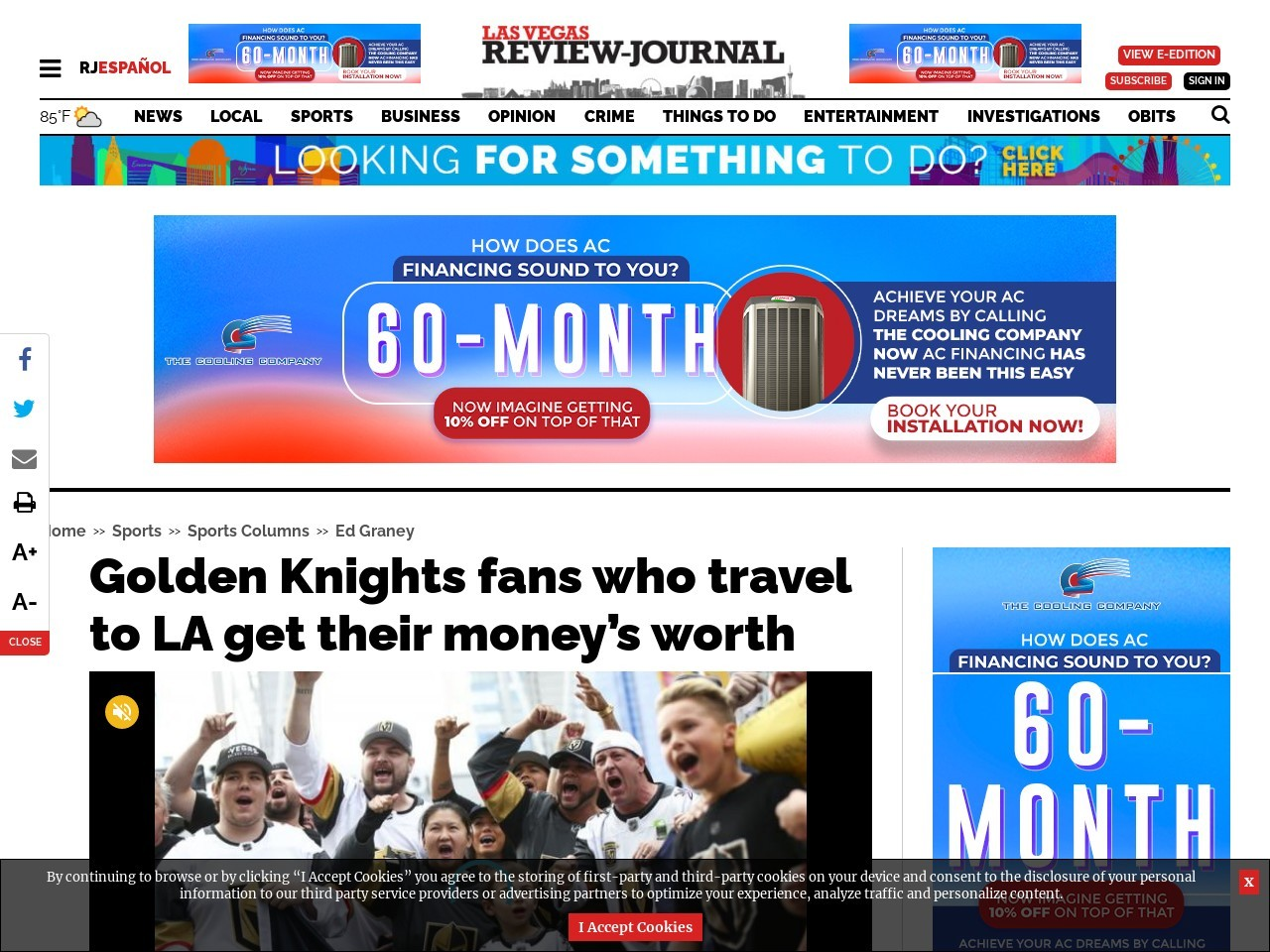 Golden Knights fans who travel to LA get their money's worth